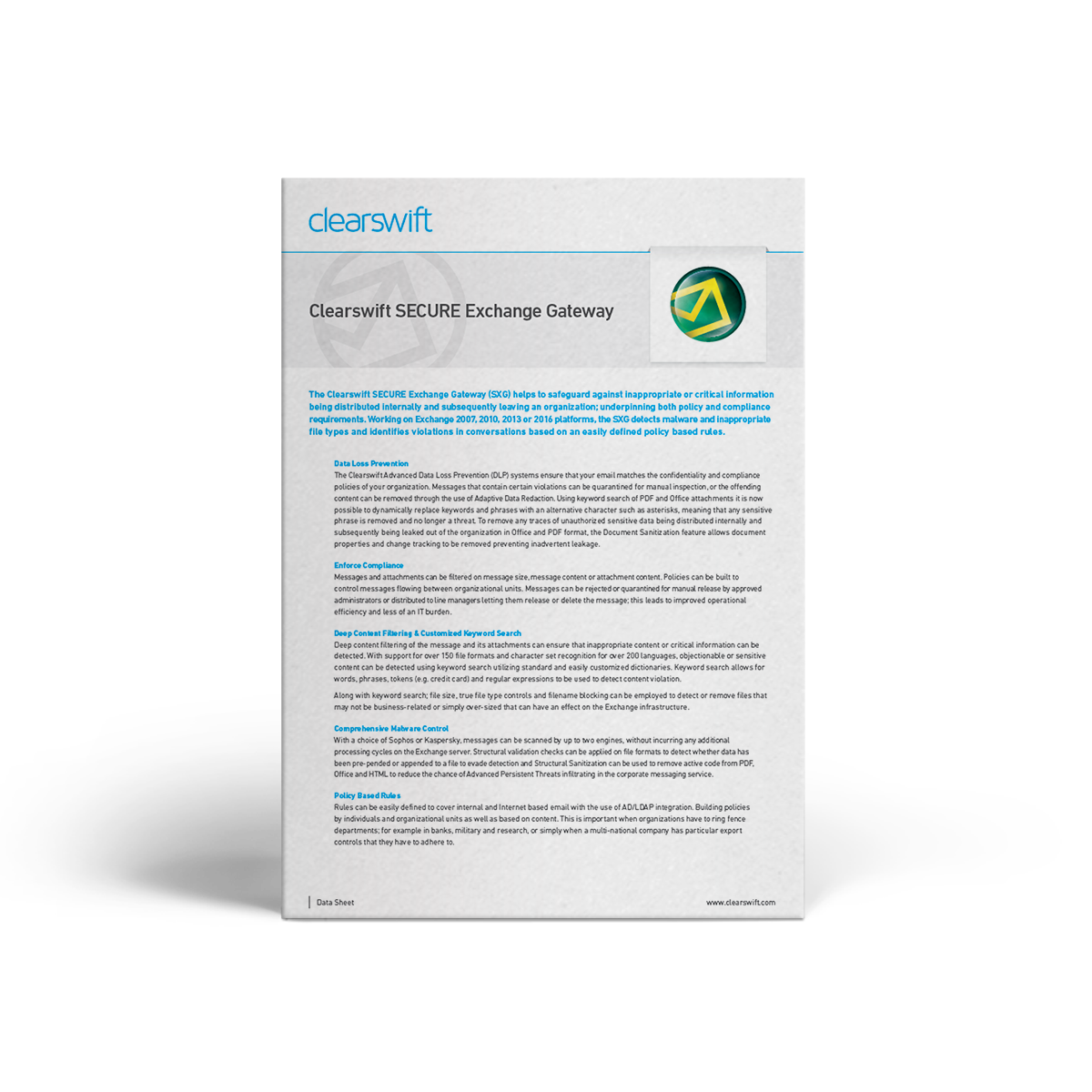 Clearswift SXG datasheet